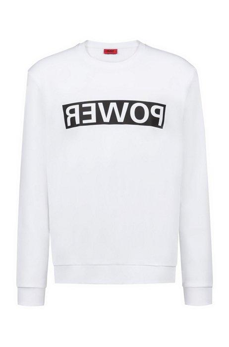 Unisex-Sweatshirt aus Baumwolle mit spiegelverkehrter Personalisierung, Weiß