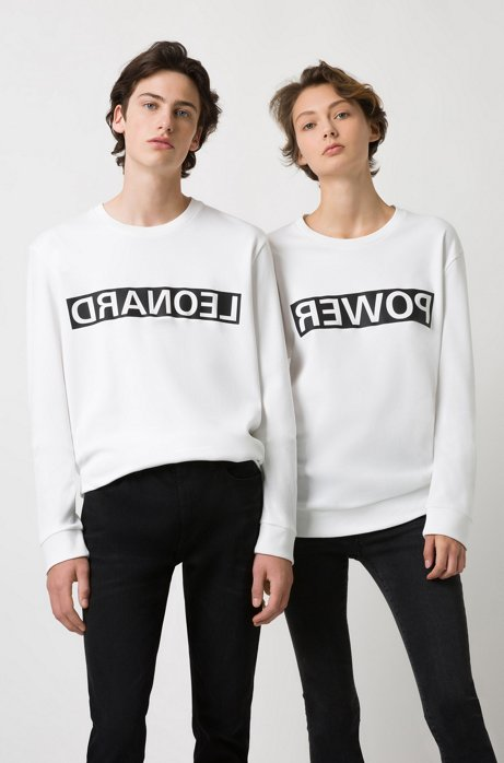 Unisex cotton sweatshirt with reversed personalisation, White