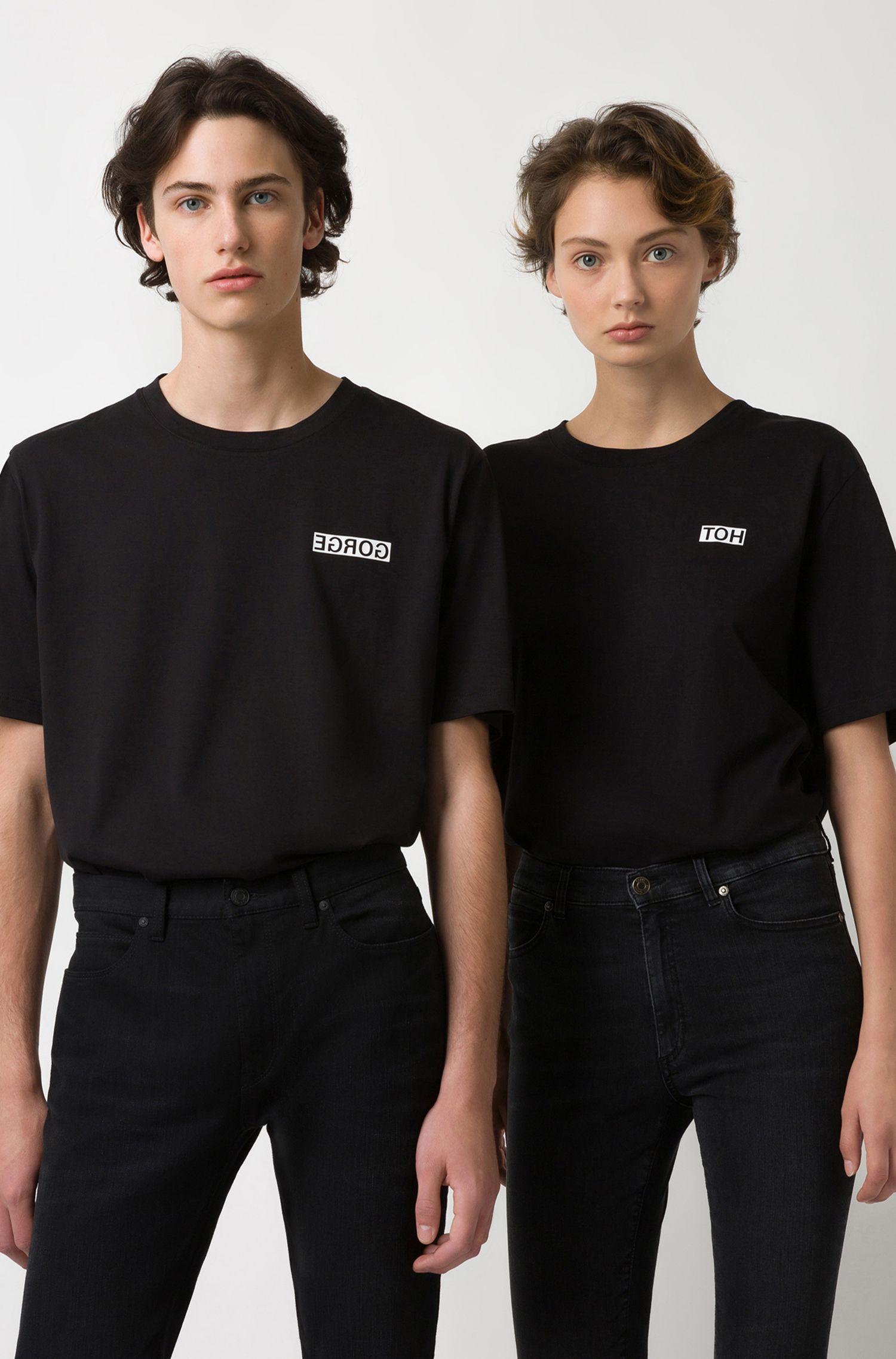 Uniseks T-shirt van katoen met gespiegelde personalisatie, Zwart