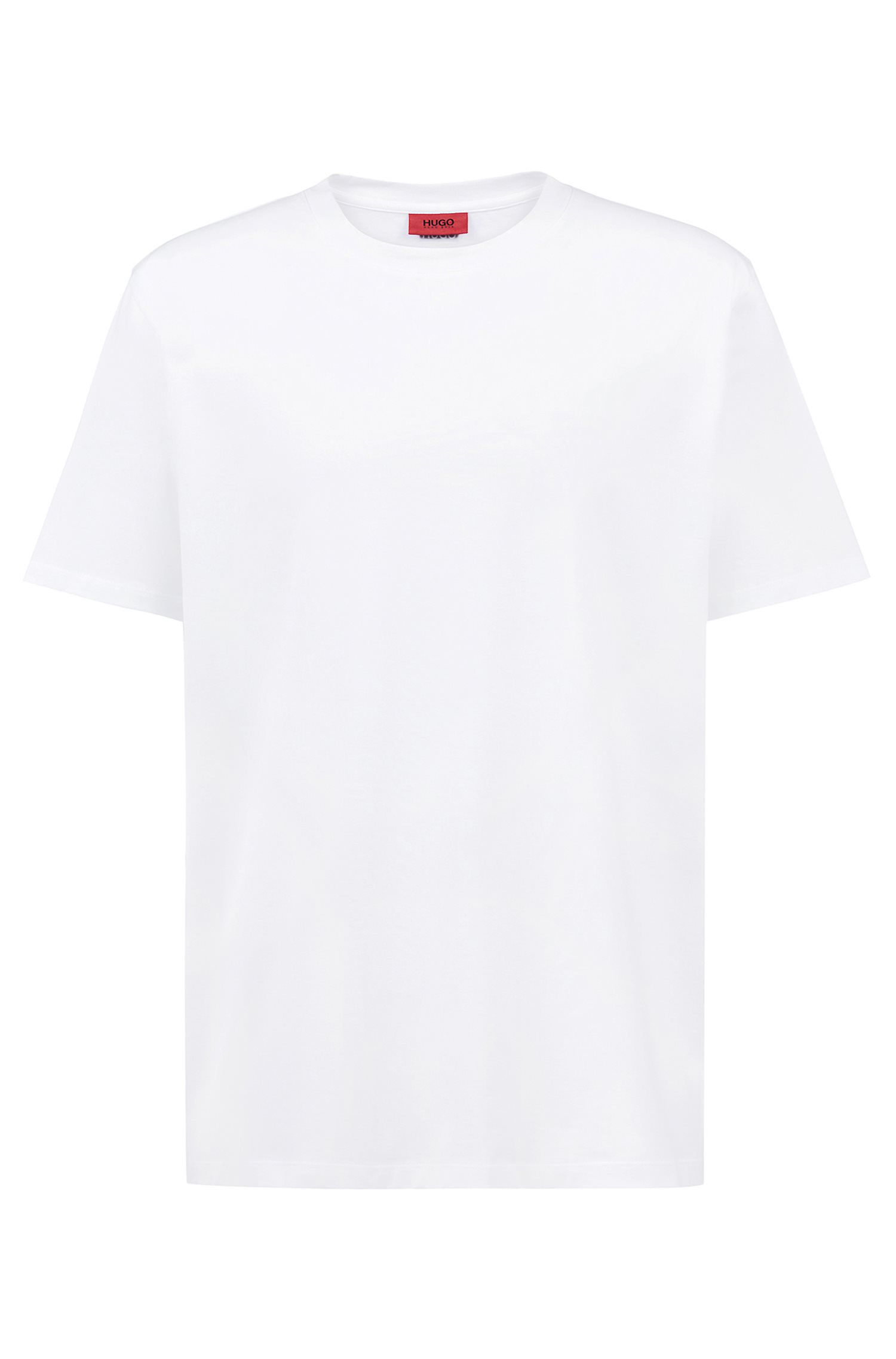 Unisex cotton T-shirt with reversed personalisation, White