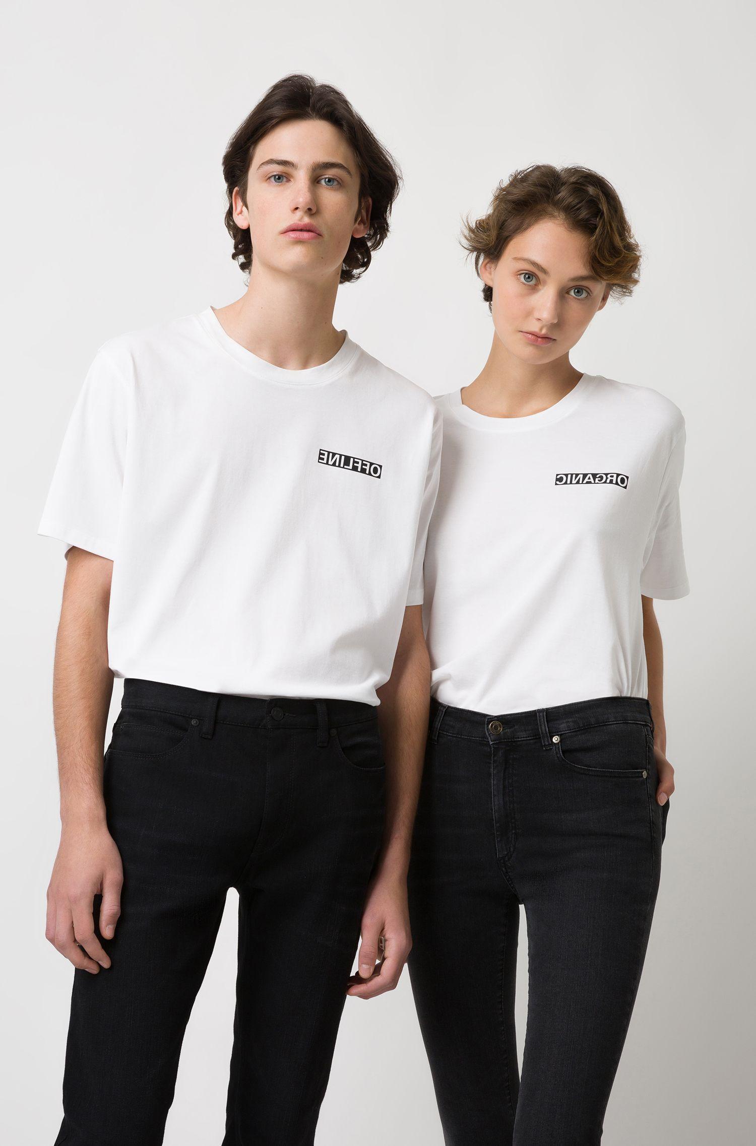 Unisex-T-Shirt aus Baumwolle mit spiegelverkehrter Personalisierung, Weiß