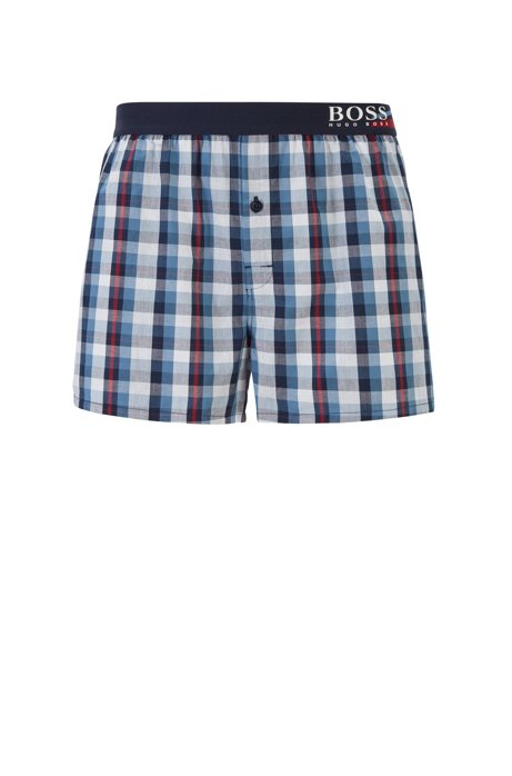Boxer-style checked pyjama shorts with seasonal logo waistband, Blue