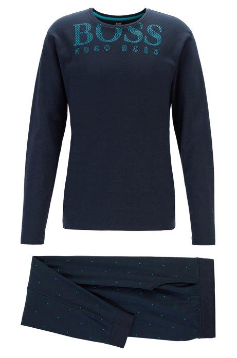 Pyjama en coton interlock, en coffret cadeau, Bleu foncé