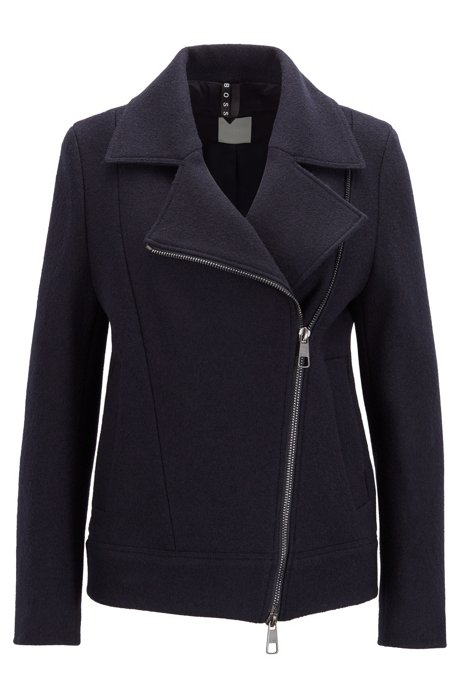 Virgin-wool biker jacket with asymmetric zip, Dark Blue