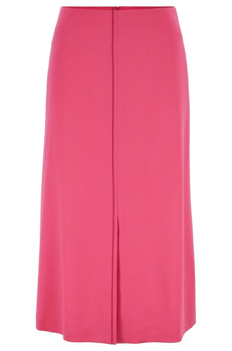 A-line flannel skirt with front seam detail, Pink