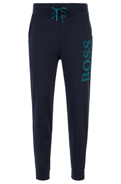 Drawstring pyjama trousers with monogram-filled logo, Dark Blue