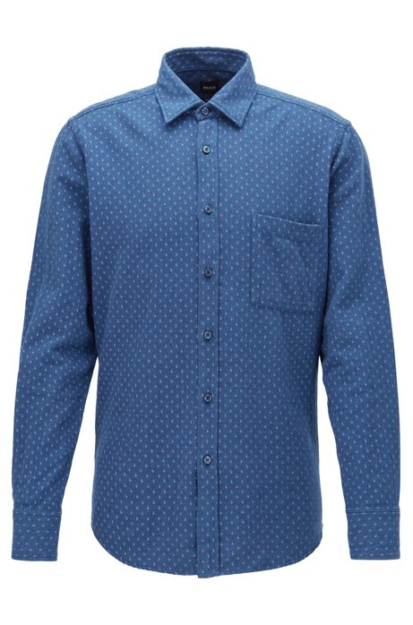 Regular-fit patterned shirt in heathered cotton flannel, Blue
