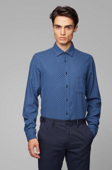 Camisa regular fit de tejido de franela de algodón con estampado, Azul