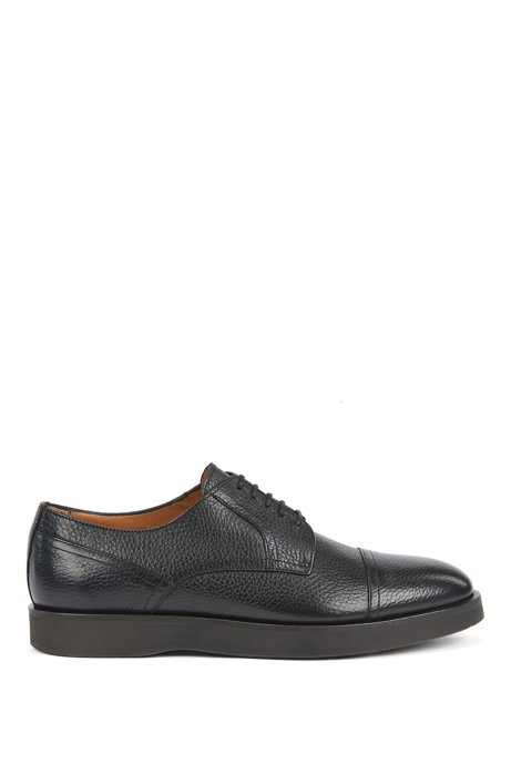 Grained-leather Derby shoes with monogram-embossed soles, Black