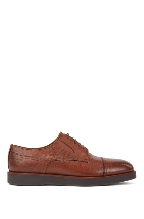 Grained-leather Derby shoes with monogram-embossed soles, Brown