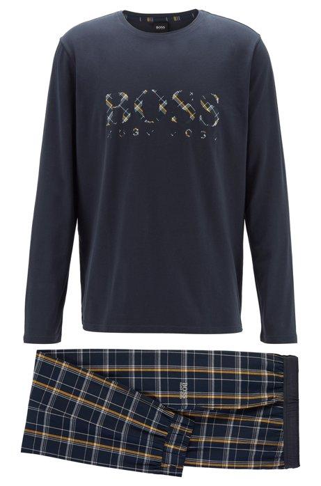 Pijama en sarga de algodón cepillada en caja de regalo, Celeste
