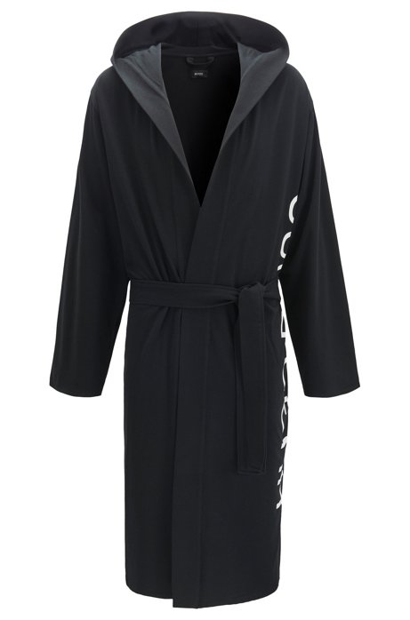 Hooded dressing gown in cotton with cut-logo detail, Black