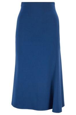 Falda midi evasé en punto elástico, Azul