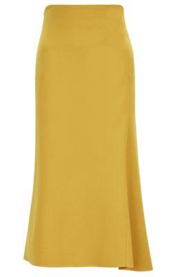 Falda midi evasé en punto elástico, amarillo oscuro