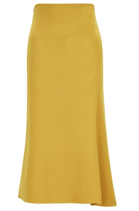 A-line midi skirt in stretch jersey, Dark Yellow