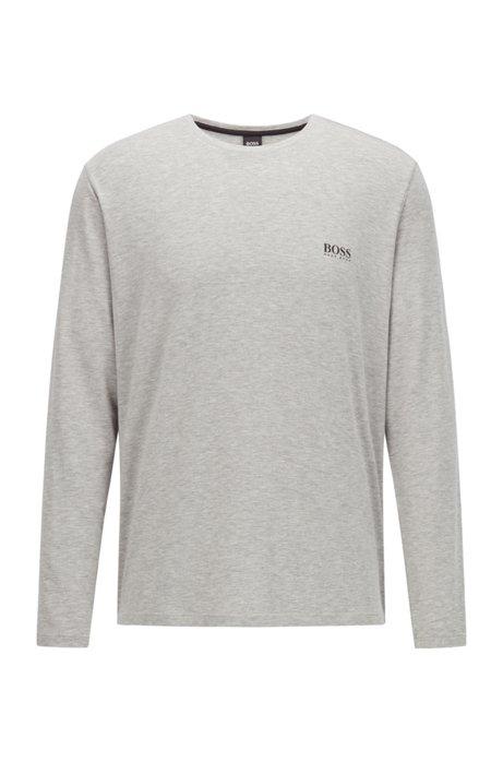 Crew-neck pyjama top in stretch modal, Grey