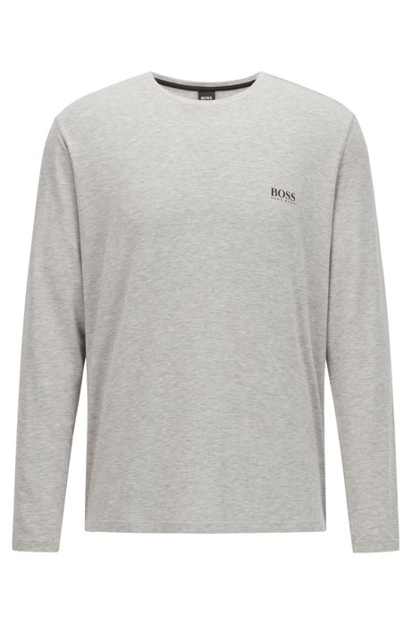 Crew-neck pyjama top in stretch modal, Grey