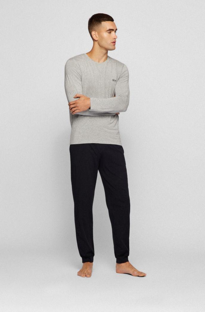 Crew-neck pyjama top in stretch modal