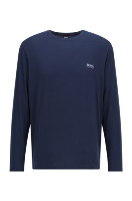 Crew-neck pyjama top in stretch modal, Dark Blue
