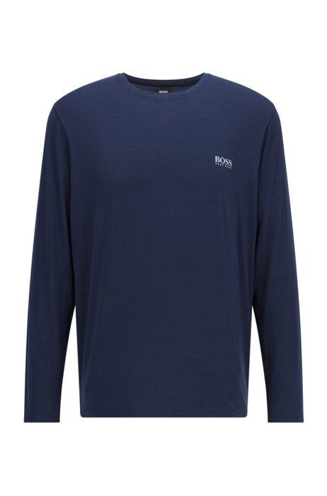 Maglia del pigiama a girocollo in modal elasticizzato, Blu scuro