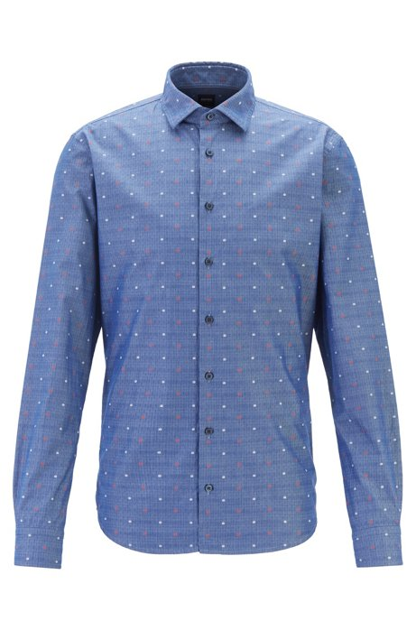 Slim-fit shirt with New York icons fil coupé, Dark Blue