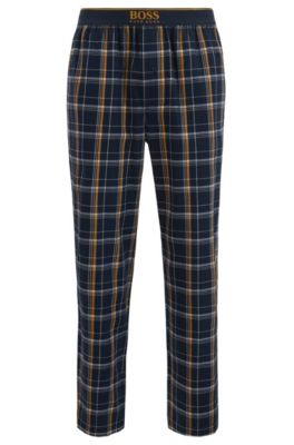 Karierte Pyjama-Hose aus Baumwoll-Twill, Hellblau