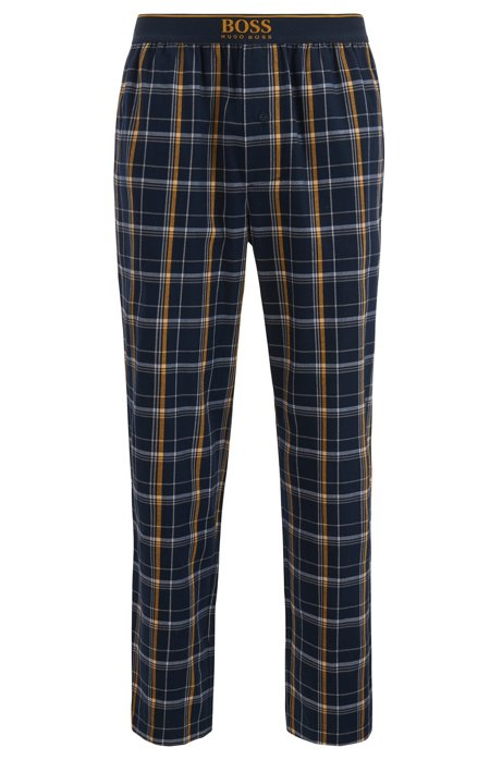 Checked pyjama trousers in cotton twill, Open Blue