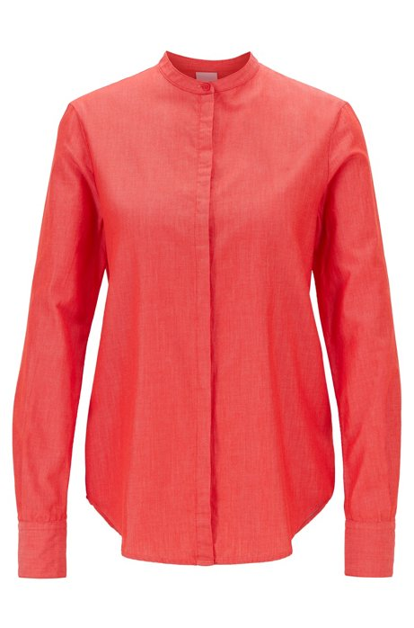 Relaxed-fit blouse in cotton with roll-up sleeves, Red