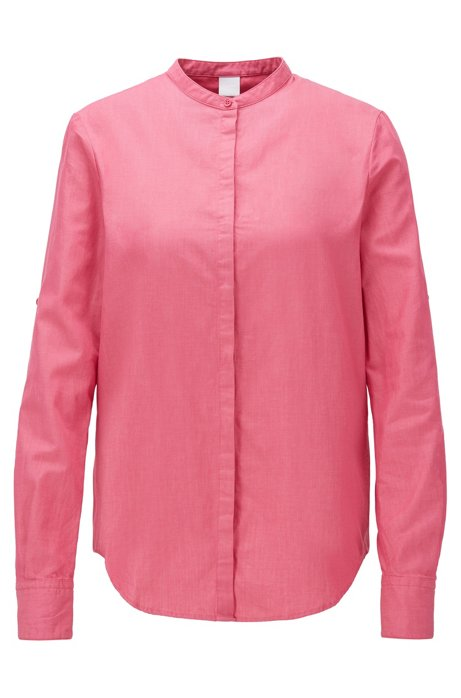 Relaxed-fit blouse in cotton with roll-up sleeves, Pink
