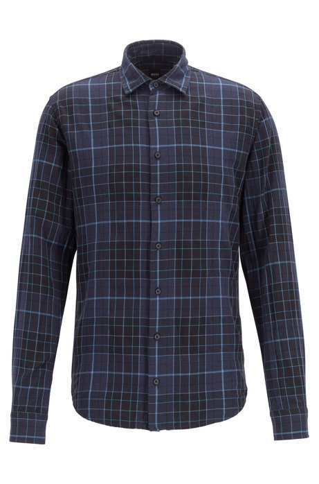 Checked slim-fit shirt in heathered cotton, Black