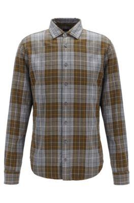 Kariertes Slim-Fit Hemd aus melierter Baumwolle, Grau