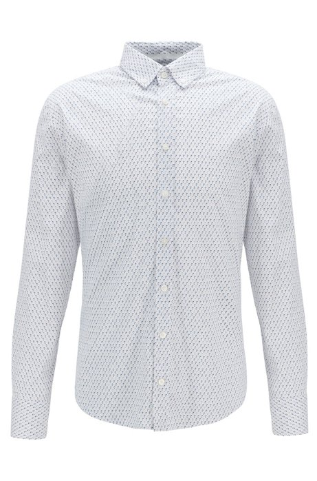 Slim-fit shirt with micro lamp motif, White