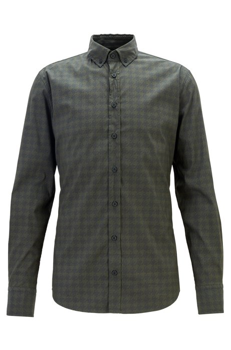 Slim-fit shirt with micro lamp motif, Green