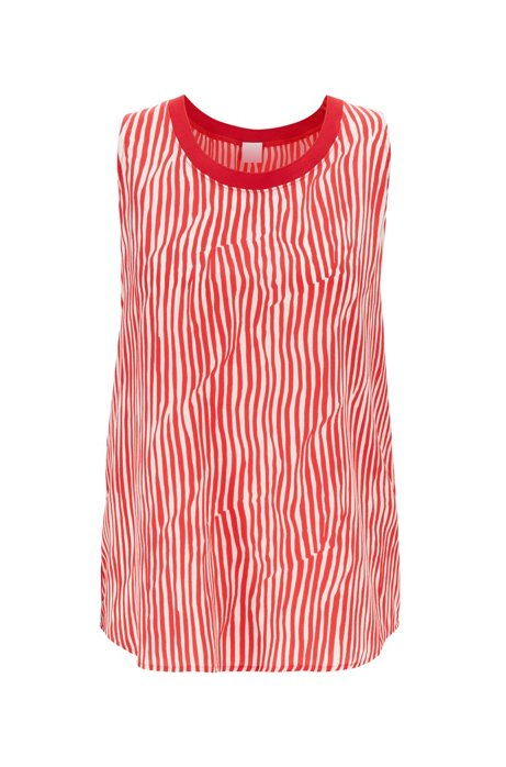 Sleeveless striped top in silk with knitted edge, Patterned