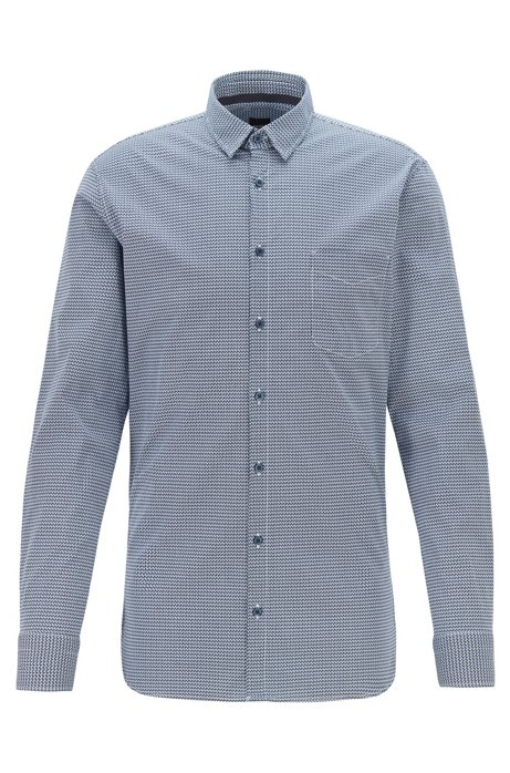 Slim-fit shirt in geometric-print stretch cotton, Dark Blue