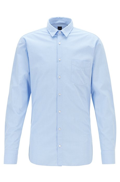 Slim-fit shirt in checked dobby cotton, Light Blue