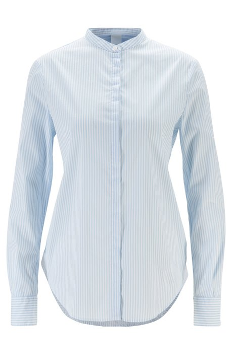 Relaxed-fit striped blouse with roll-up sleeves, Light Blue