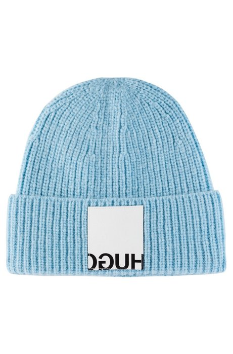 Rib-knit beanie hat with leather reverse-logo patch, Light Blue