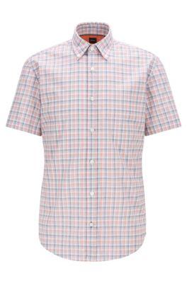 Slim-fit overhemd van geruit fil-à-fil-katoen, Oranje