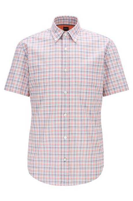 Slim-fit shirt in checked fil-à-fil cotton, Orange