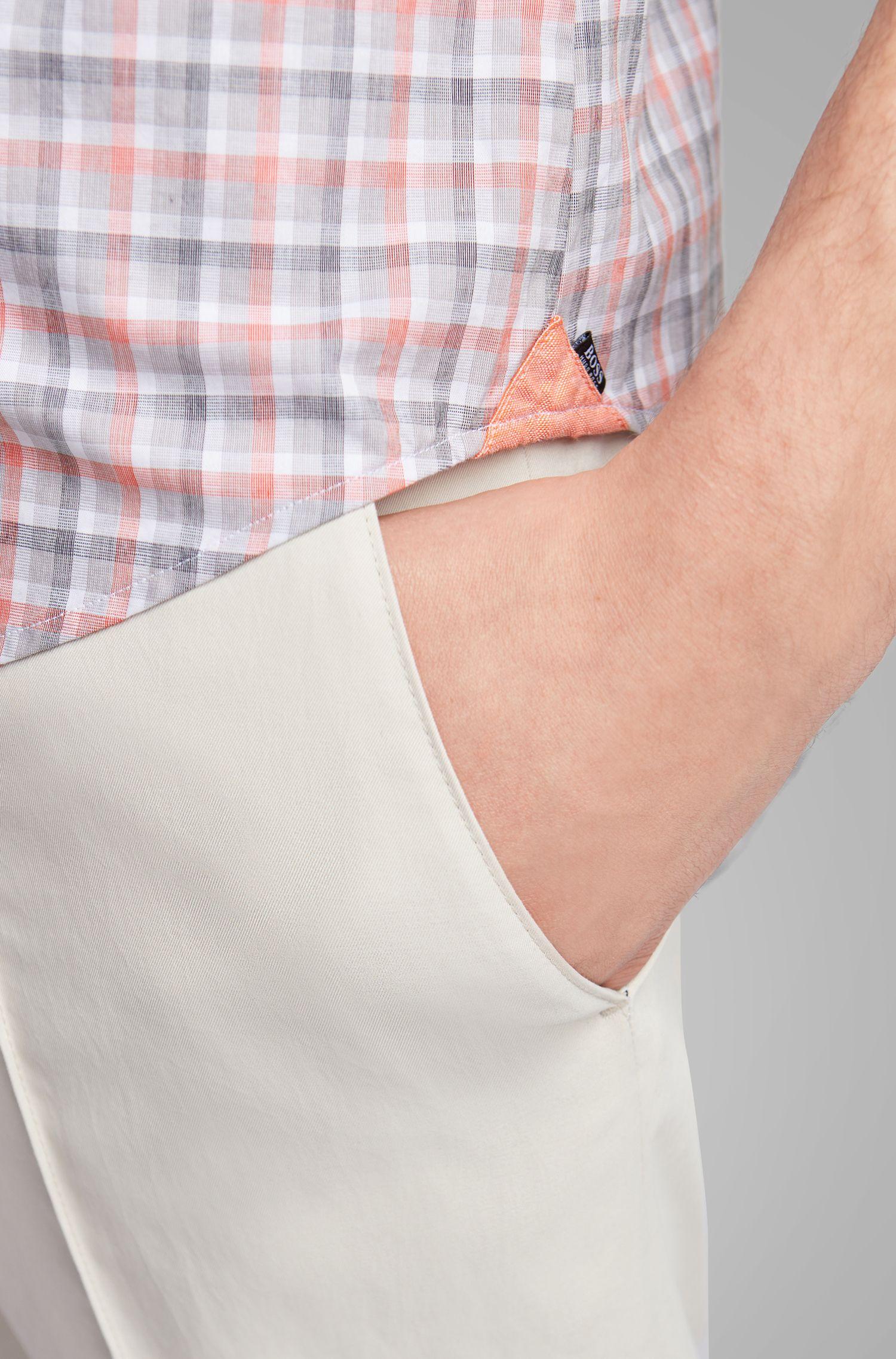 Chemise Slim Fit en coton fil-à-fil à carreaux, Orange