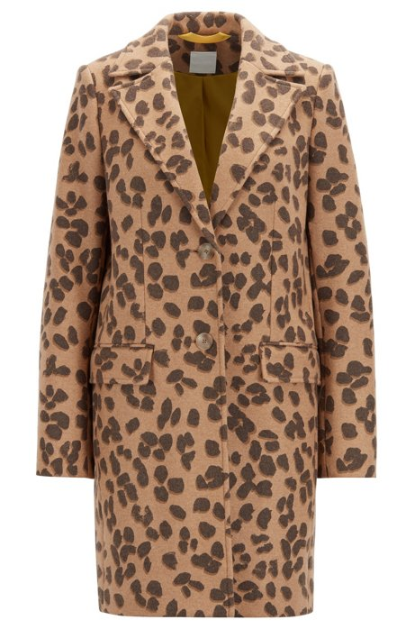 Regular-Fit Mantel aus Woll-Mix mit Leoparden-Print, Gemustert