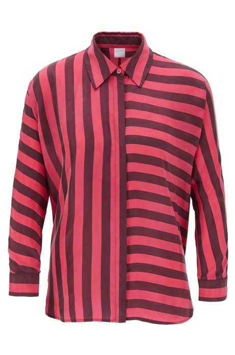 Relaxed-fit blouse with multi-directional stripe, Patterned