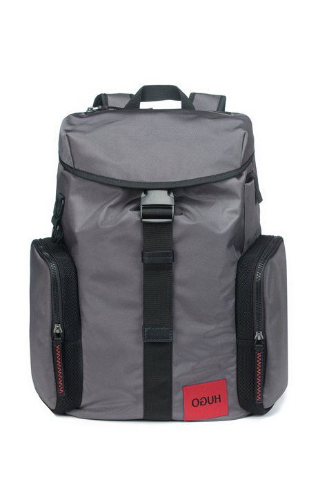 Reverse-logo backpack in structured Cordura® fabric, Dark Grey
