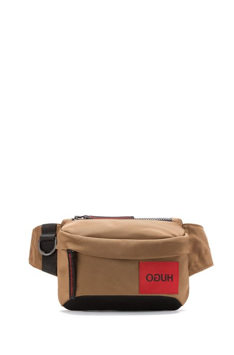 Belt bag with reversed logo and D-ring closure, Light Brown