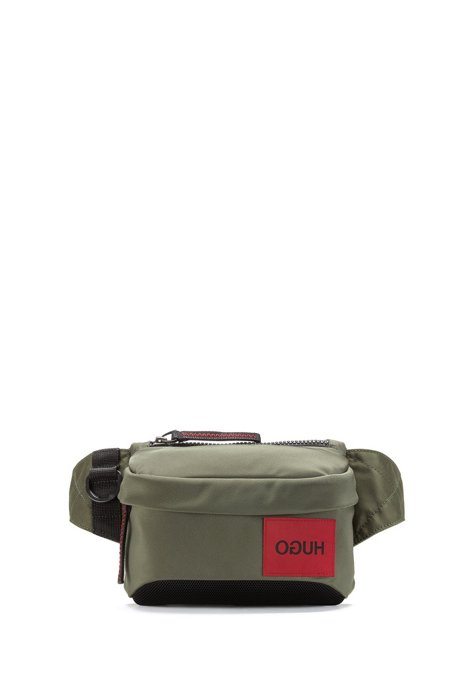 Belt bag with reversed logo and D-ring closure, Khaki