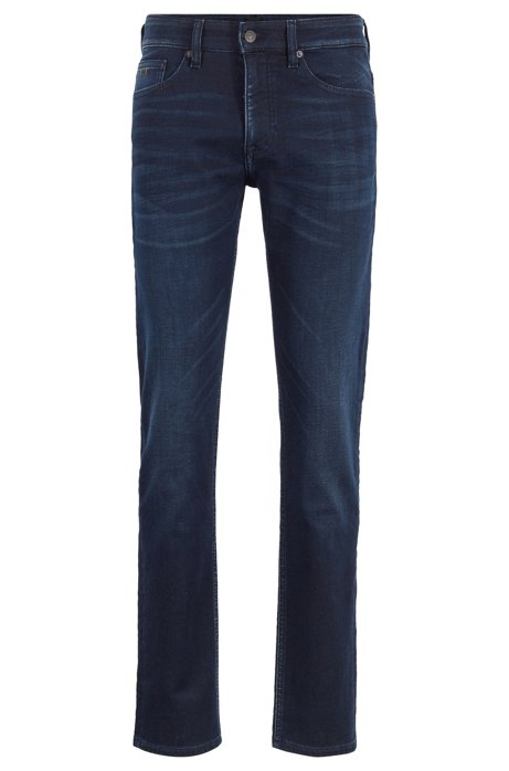 Slim-fit jeans in dark-blue knitted stretch denim, Dark Blue