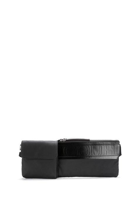 Reverse logo-strap belt bag in matte faux leather, Black