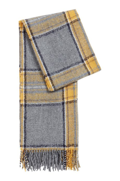 Multi-coloured check scarf with fringing, Patterned