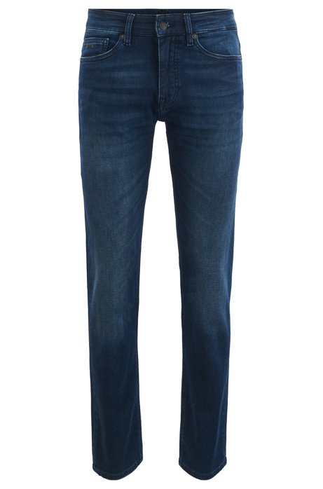 Slim-fit jeans in dark blue with tinted pigment, Dark Blue